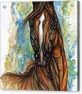 Psychodelic Chestnut Horse Original Painting Acrylic Print