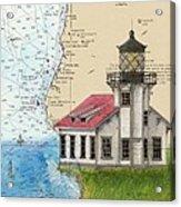 Pt Cabrillo Lighthouse Ca Nautical Chart Map Art Cathy Peek Acrylic Print