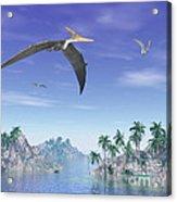 Pteranodon Birds Flying Above Islands Acrylic Print