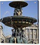 Public Fountain At The Place De La Concorde In Paris France Acrylic Print