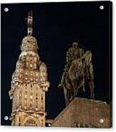 Public Statue And Skyscraper At Night Acrylic Print