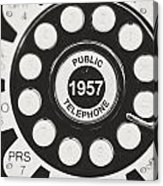 Public Telephone 1957 In Black And White Retro Acrylic Print