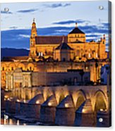 Puente Romano And Mezquita At Twilight In Cordoba Acrylic Print