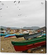 Puerto Lopez Beach And Boats Acrylic Print