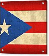 Puerto Rico Flag Vintage Distressed Finish Acrylic Print by Design Turnpike