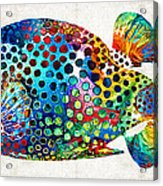 Puffer Fish Art - Puff Love - By Sharon Cummings Acrylic Print