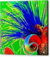 Puffy Bloom W Bee In Rainbow Acrylic Print