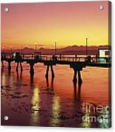 Puget Sound Olympic Mountains Fishing Pier Acrylic Print