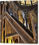 Pulpit In The Aya Sofia Museum In Istanbul  Acrylic Print by David Smith