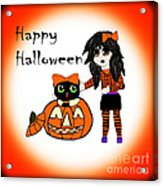 Pumpkin And Halloween Cat Acrylic Print