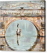 Punting On River Cam Under Clare Bridge Acrylic Print