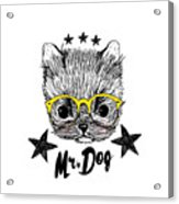 Puppy And Yellow Glasses Illustration Acrylic Print