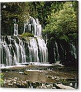 Purakaunui Falls And Tropical Acrylic Print