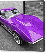 Purple 1968 Corvette C3 From Above Acrylic Print