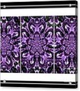 Purple Abstract Flower Garden - Kaleidoscope - Triptych Acrylic Print