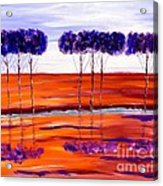 Purple And Blue Trees Abstract Acrylic Print
