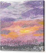 Purple And Gold November Sunset In West Michiganwatercolor Acrylic Print