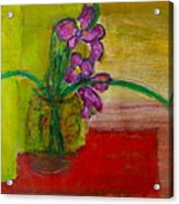 Purple Flowers With Yellow Background Acrylic Print