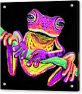 Purple Frog On A Vine Acrylic Print