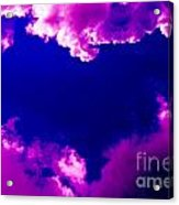 Purple Heart And Pink Clouds Acrylic Print