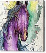 Purple Horse Acrylic Print by Angel  Tarantella