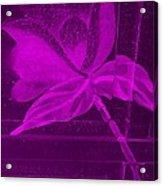 Purple Negative Wood Flower Acrylic Print