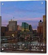 Purple Sky Above Downtown Baltimore Acrylic Print