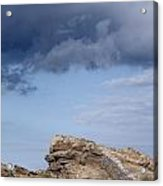 Cala Mesquida Stone Wall Against Rocks With A Stormy Sky Above - Putting Walls To Heaven Acrylic Print