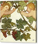 Putti Frolicking In A Vineyard Acrylic Print by Phoebe Anna Traquair