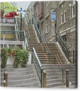 quaint  street scene  photograph THE BREAKNECK STAIRS of QUEBEC CITY   Acrylic Print