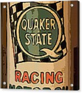Quaker State Oil Can Acrylic Print by Carrie Cranwill