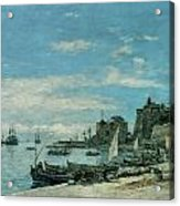 Quay At Villefranche Acrylic Print by Eugene Boudin