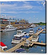 Quays Along Saint Lawrence River In Montreal-qc Acrylic Print