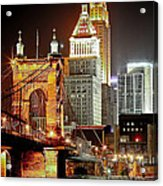 Queen City At Night Acrylic Print