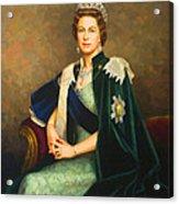 Queen Elizabeth II Portrait - Oil On Canvas Acrylic Print