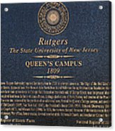 Queen's Campus - Commemorative Plaque Acrylic Print