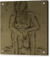Quick Sketch Nude Acrylic Print by Carrie Viscome Skinner