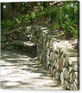 Bench In A Stone Wall Acrylic Print