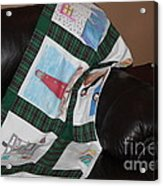 Quilt Newfoundland Tartan Green Posts Acrylic Print by Barbara Griffin