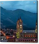 Quito Basilica At Night Acrylic Print