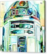 R2-d2 Watercolor Portrait Acrylic Print