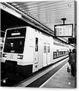 R2 Rodalies De Catalunya Train Speeding Through Passeig De Gracia Underground Main Line Train Statio Acrylic Print