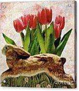 Rabbit And Pink Tulips Acrylic Print