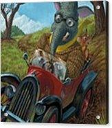 Racing Car Animals Acrylic Print by Martin Davey