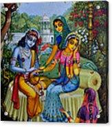 Radha Krishna Man Lila On Radha Kunda Acrylic Print by Vrindavan Das