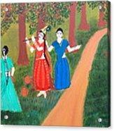 Radha Playing Krishna Acrylic Print by Pratyasha Nithin