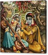 Radha Playing Vina Acrylic Print by Vrindavan Das