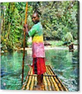 Rafting The Martha Brae Acrylic Print by Lester Phipps