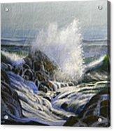 Raging Surf Acrylic Print by Frank Wilson