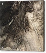 Raging, Wotan Rides To The Rock! Like Acrylic Print by Arthur Rackham